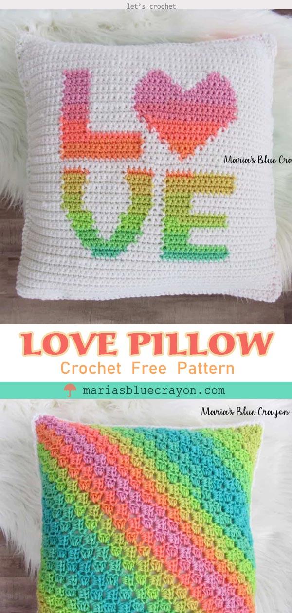 Crochet Love Pillow free Pattern