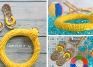 RAINBOW BEACH BALL,MINI SANDALS,DUCK BUOY AMIGURUMI CROCHET PATTERN