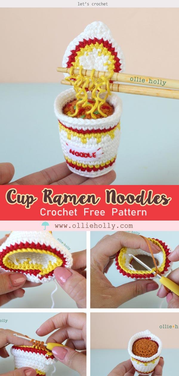 Cup Ramen Noodles Amigurumi Crochet Free Pattern