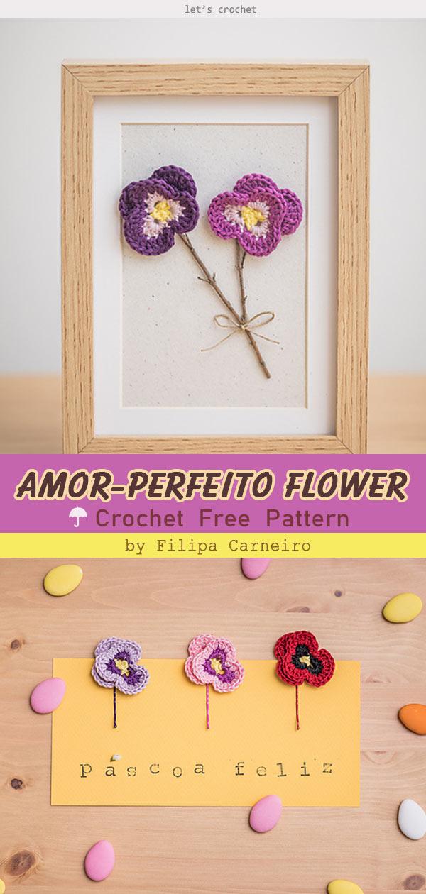 Amor-Perfeito Flower Free Crochet Pattern