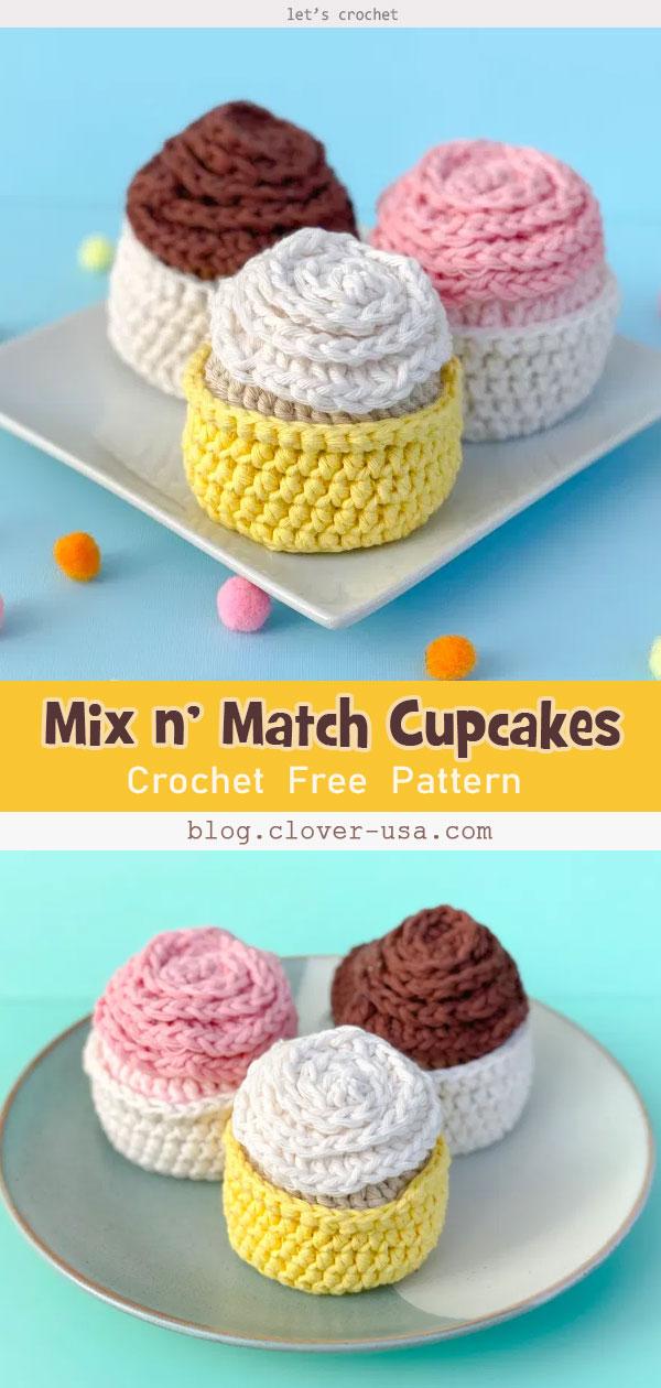 4 Cupcake Amigurumi Free Crochet Pattern