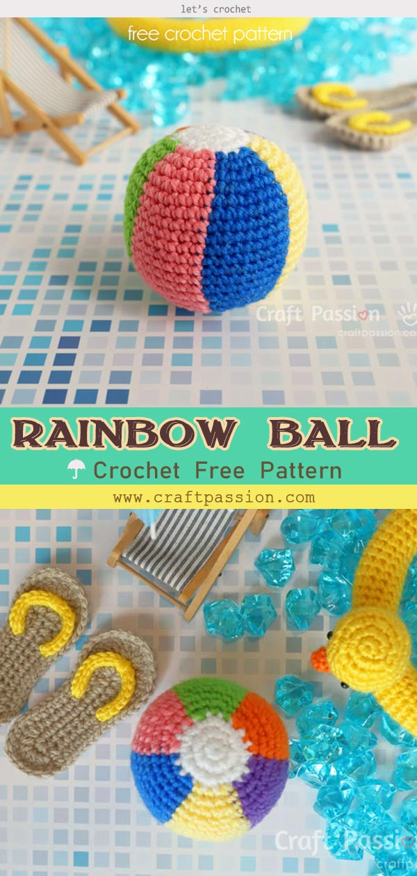 RAINBOW BEACH BALL,MINI SANDALS,DUCK BUOY AMIGURUMI CROCHET PATTERN