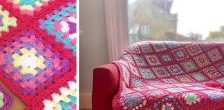Strawberry Candy Squares Blanket Free Crochet Pattern