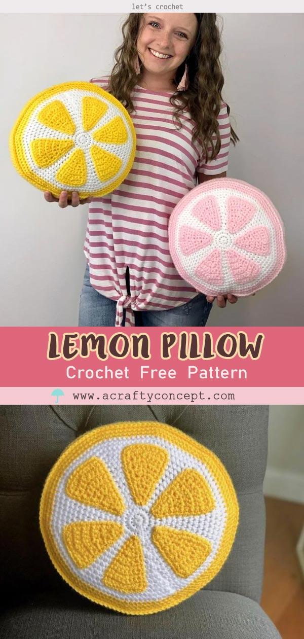 Lemon Pillow Crochet Free Pattern