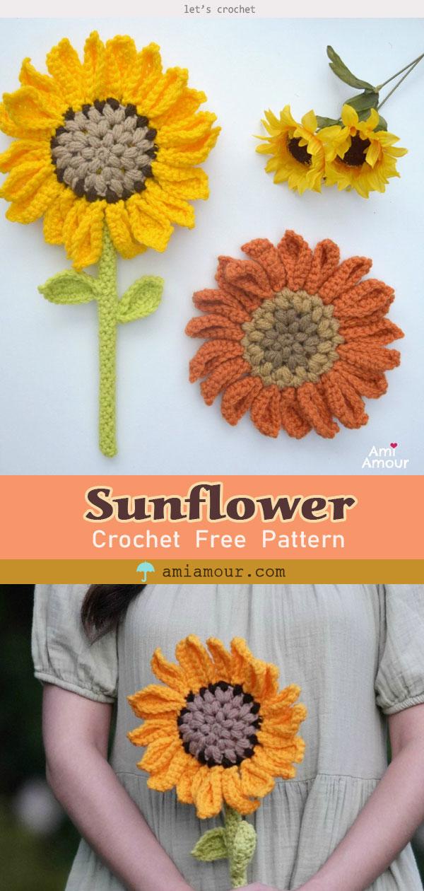 Crochet Sunflower Amigurumi Flower Wand free Pattern