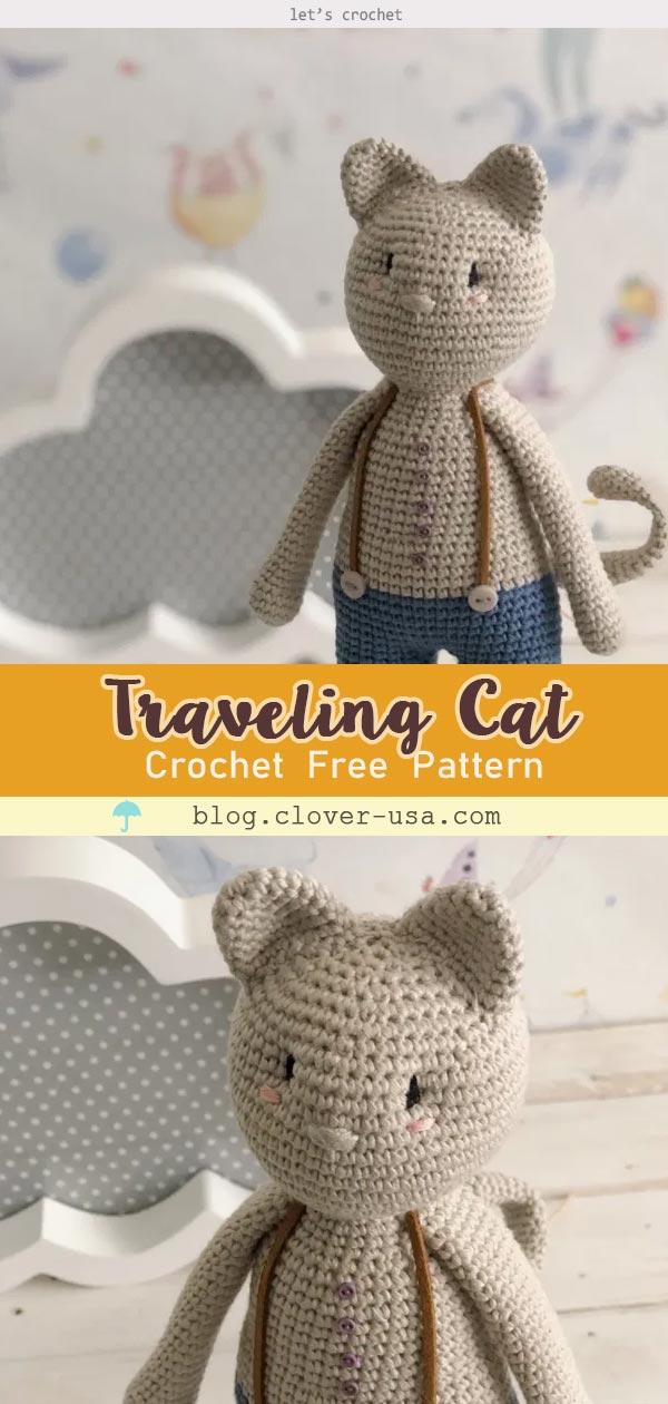 Akihiro the Traveling Cat Amigurumi Free Crochet Pattern