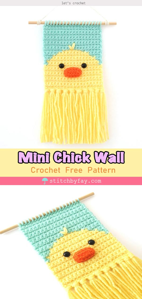 Mini Chick Wall Hanging Free Crochet Pattern
