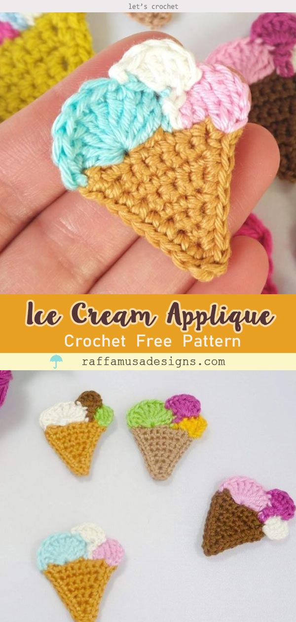 ICE CREAM CROCHET APPLIQUE FREE PATTERN