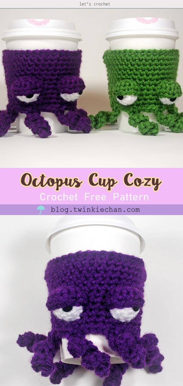 Crochet Grumpy Octopus Coffee Cup Cozy Free Pattern