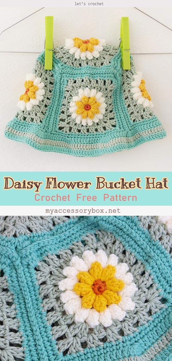 Beautiful Crochet Daisy Flower Bucket Hat