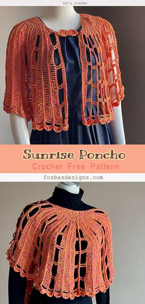 Sunrise Poncho Free Crochet Pattern