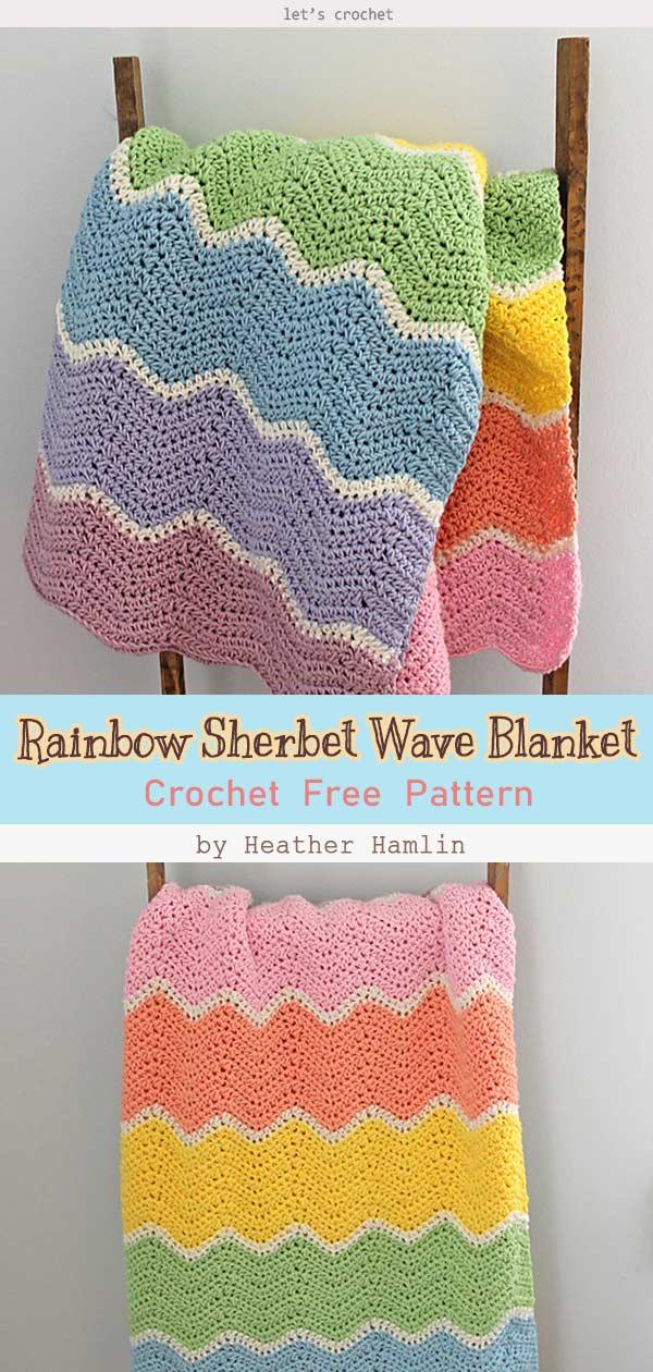 Rainbow Sherbet Wave Blanket Crochet Free Pattern