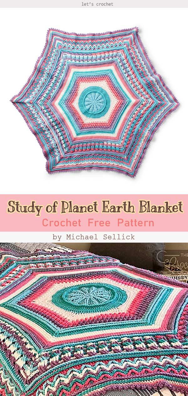 Study of Planet Earth Blanket Crochet Free Pattern
