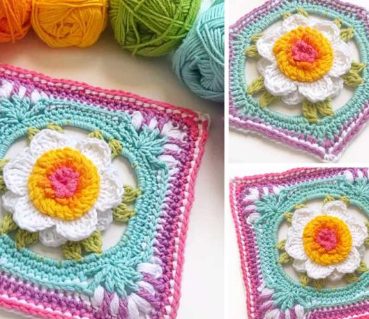 Free Crochet Floral Square Pattern
