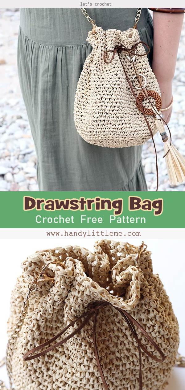 Crochet Drawstring Bag Pattern Free Pattern