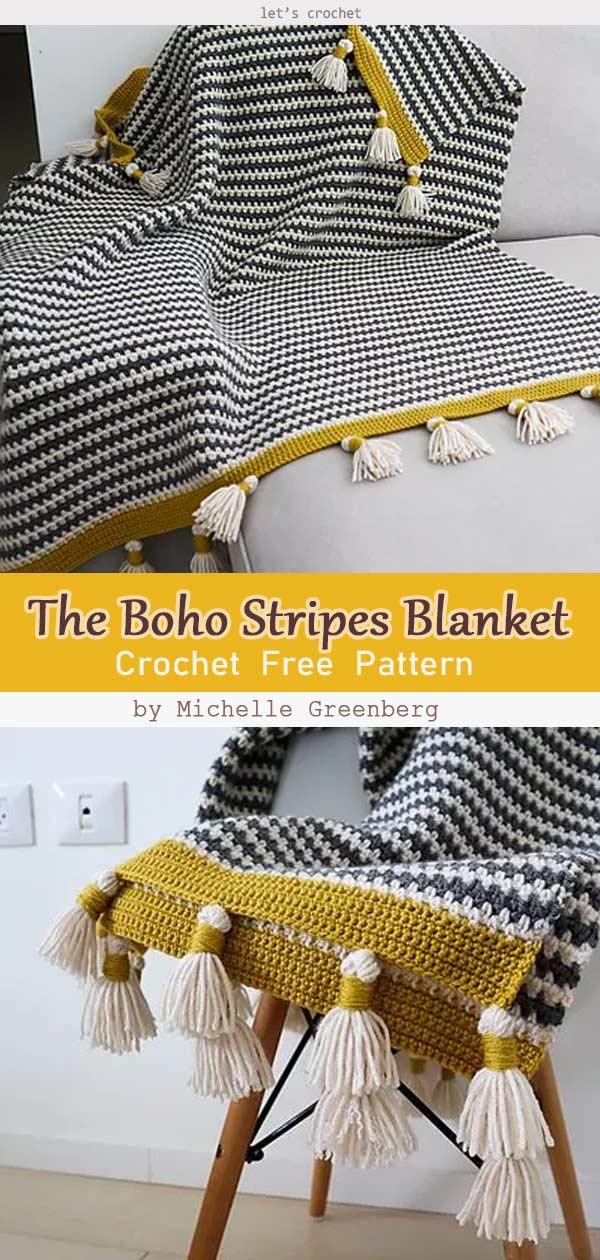 The Boho Stripes Blanket Free Crochet Pattern