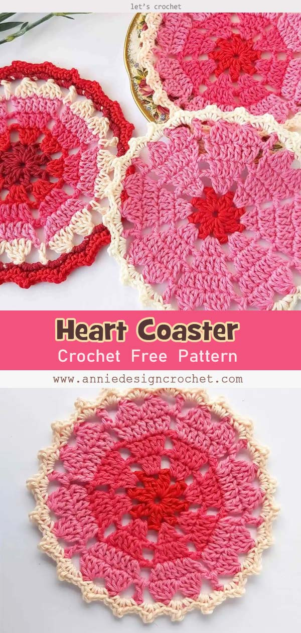 Crochet Heart Coaster for Valentine's Day Free Pattern