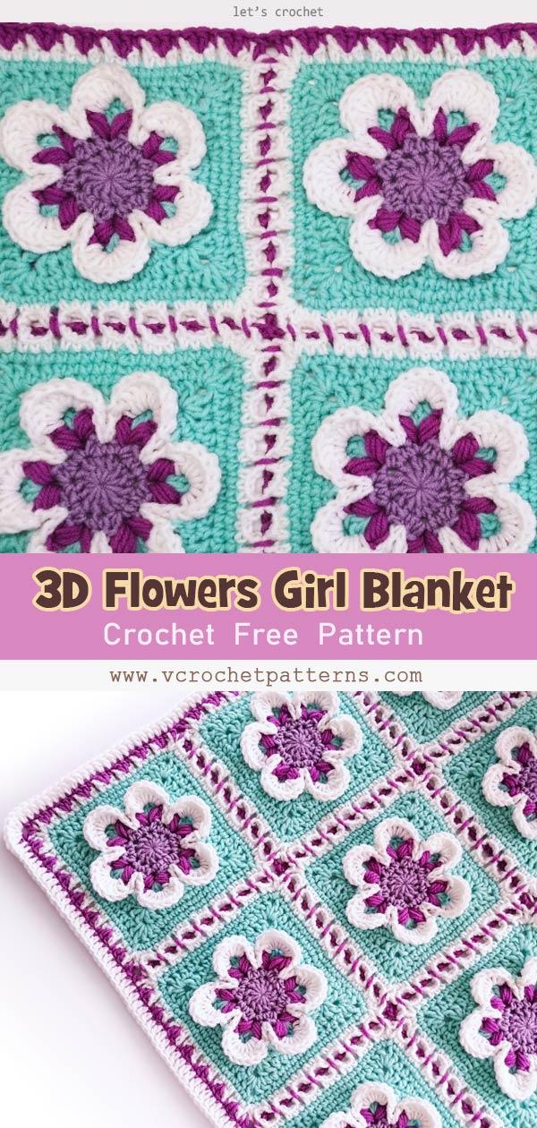 Manta de crochet para bebé niña con flores 3D