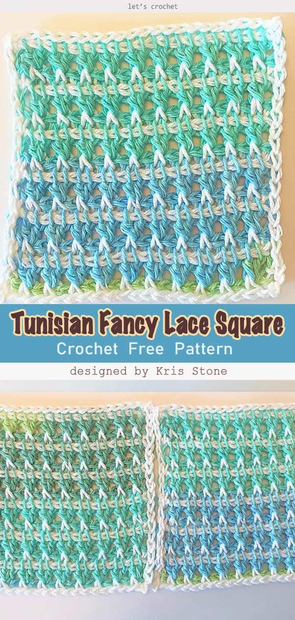 Tunisian Fancy Lace Square Free Crochet Pattern