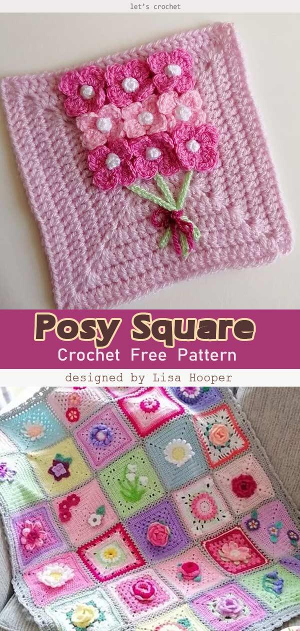 Posy Square Free Crochet Pattern