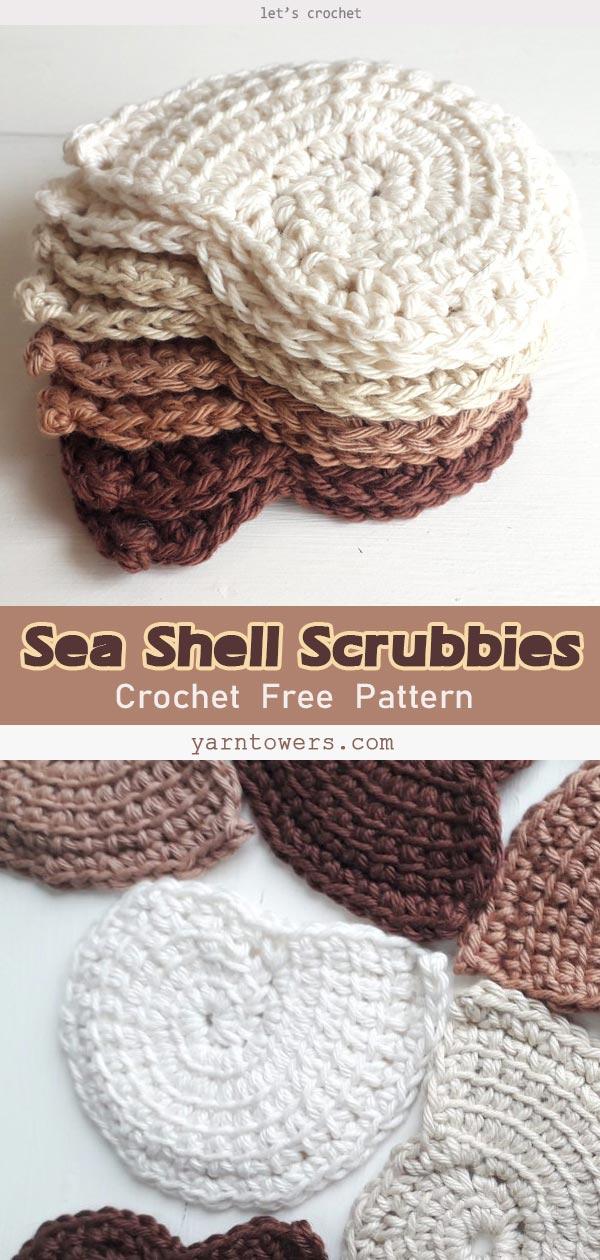 Sea Shell Scrubbies Crochet Free Pattern
