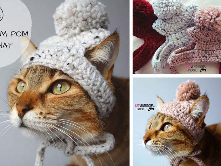 Narby Pom Pom Cat Hat Free Crochet Pattern