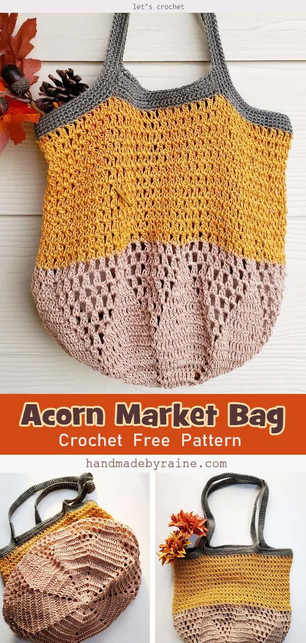 Crochet Acorn Market Bag Free Pattern