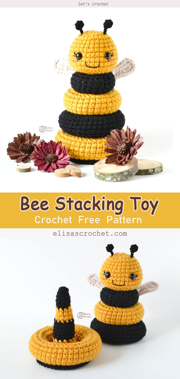 Bee Stacking Toy Free Crochet Pattern